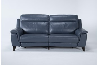 "Moana Blue Leather Dual 87"" Power Reclining Sofa With Usb"