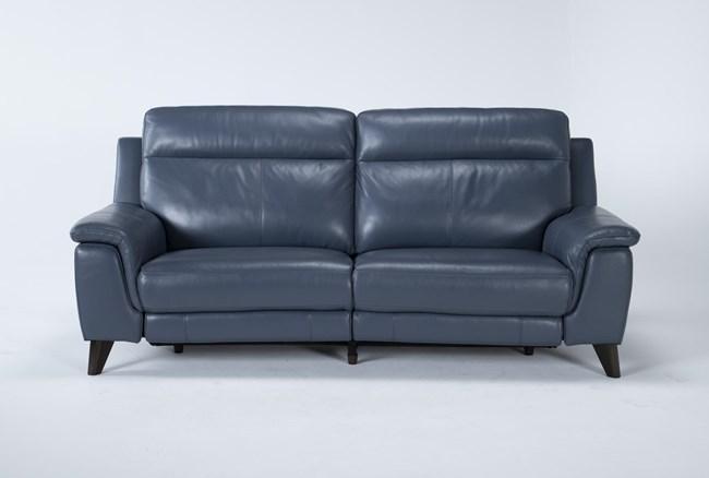 "Moana Blue Leather Dual 87"" Power Reclining Sofa With Usb - 360"