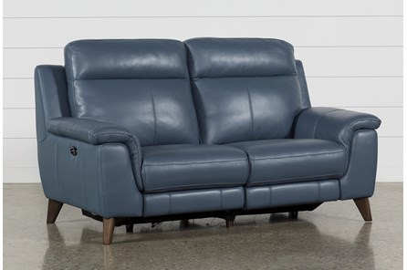 Moana Blue Leather Dual Power Reclining Loveseat With Usb