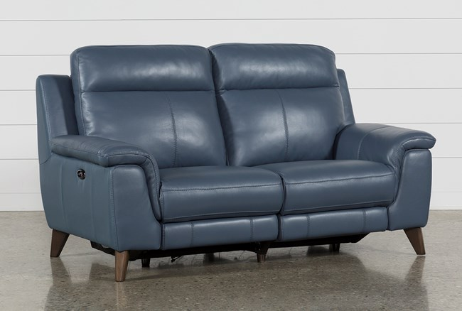 Moana Blue Leather Dual Power Reclining Loveseat With Usb - 360
