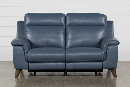 Astounding Moana Blue Leather Dual Power Reclining Loveseat With Usb Short Links Chair Design For Home Short Linksinfo