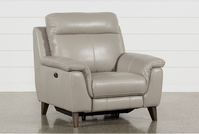 Moana Taupe Leather Power Reclining Chair With Usb - 360