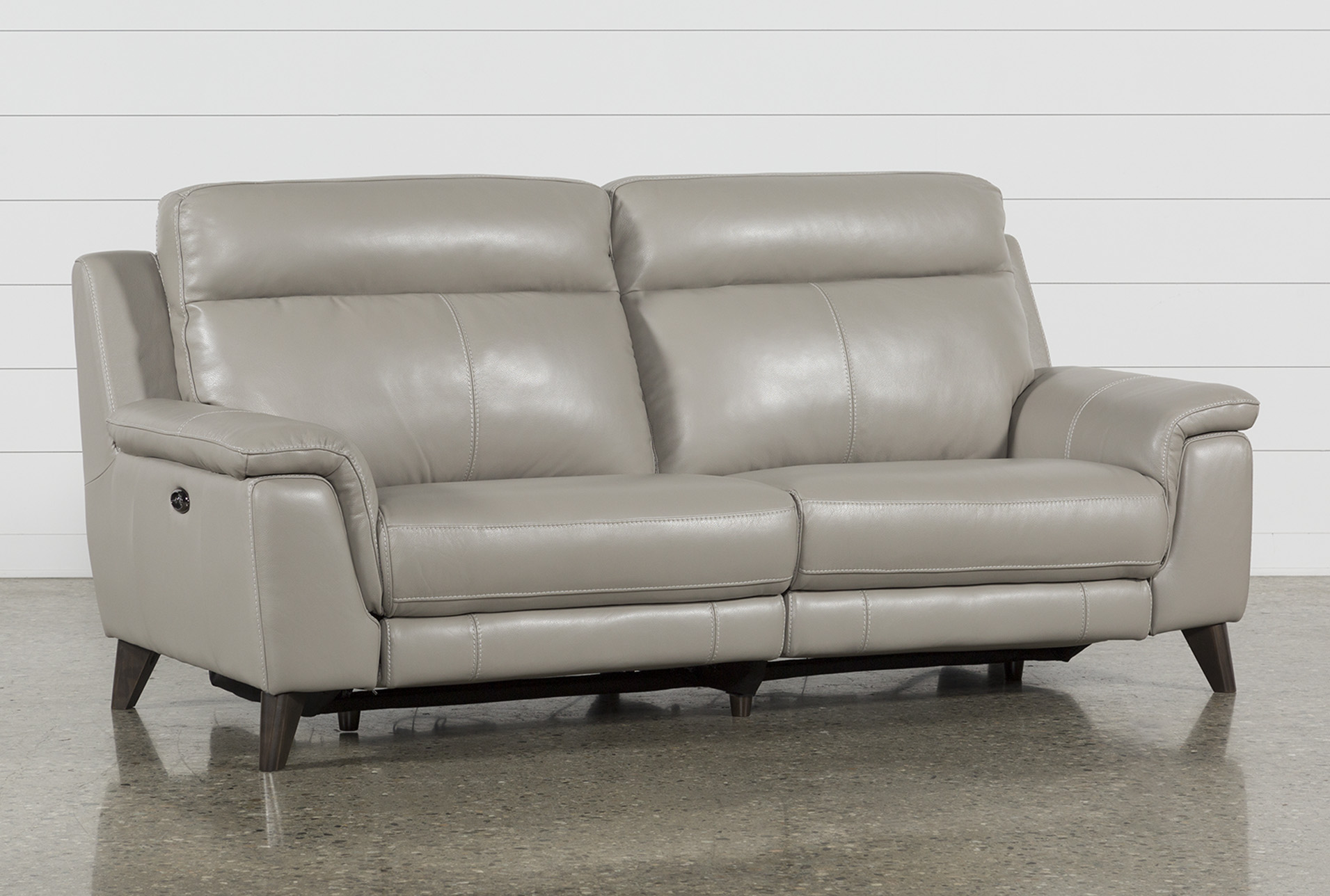moana taupe leather dual power reclining sofa with usb living spaces rh livingspaces com leather power reclining sofa with console leather power reclining sofa with adjustable headrest