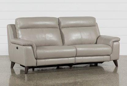Astonishing Moana Taupe Leather Dual Power Reclining Sofa With Usb Dailytribune Chair Design For Home Dailytribuneorg