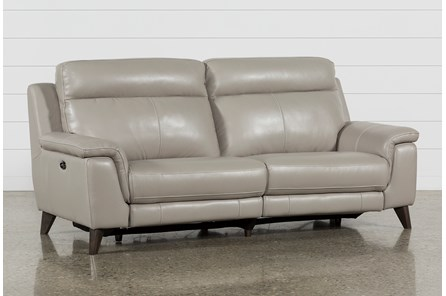 Moana Taupe Leather Dual Power Reclining Sofa With Usb | Living Spaces