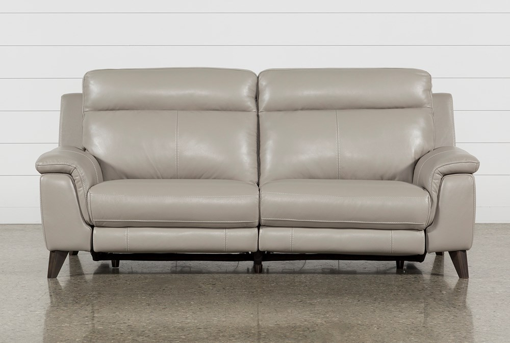 "Moana Taupe Leather Dual 87"" Power Reclining Sofa With Usb"