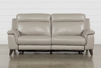 """Moana Taupe Leather Dual 87"""" Power Reclining Sofa With Usb"""