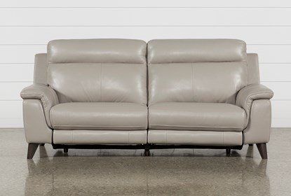 Superb Moana Taupe Leather Dual Power Reclining Sofa With Usb Cjindustries Chair Design For Home Cjindustriesco