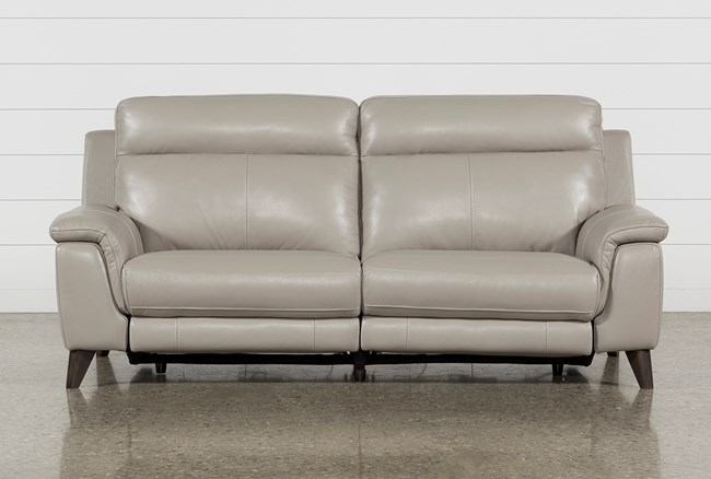 """Moana Taupe Leather Dual 87"""" Power Reclining Sofa With Usb - 360"""