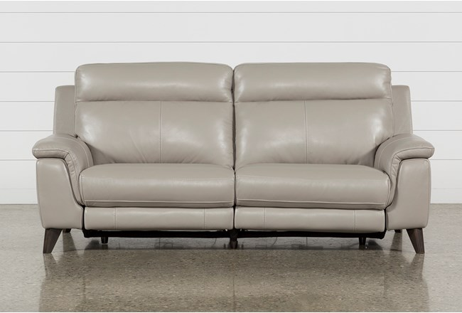 "Moana Taupe Leather Dual 87"" Power Reclining Sofa With Usb - 360"