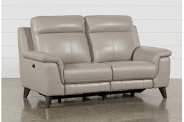 "Moana Taupe Leather Dual 70"" Power Reclining Loveseat With Usb"