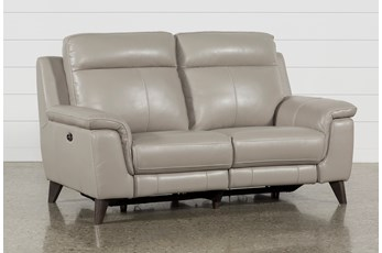 Moana Taupe Leather Dual Power Reclining Loveseat With Usb