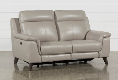 Brilliant Moana Taupe Leather Dual Power Reclining Loveseat With Usb Bralicious Painted Fabric Chair Ideas Braliciousco