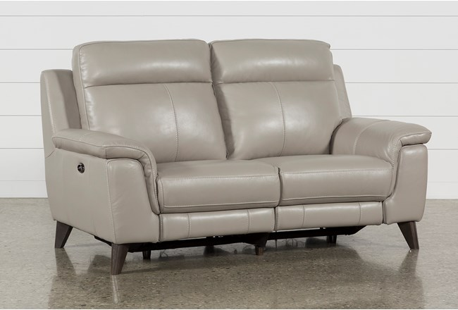 """Moana Taupe Leather Dual 70"""" Power Reclining Loveseat With Usb - 360"""