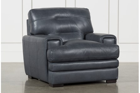 Gina Blue Leather Chair - Main