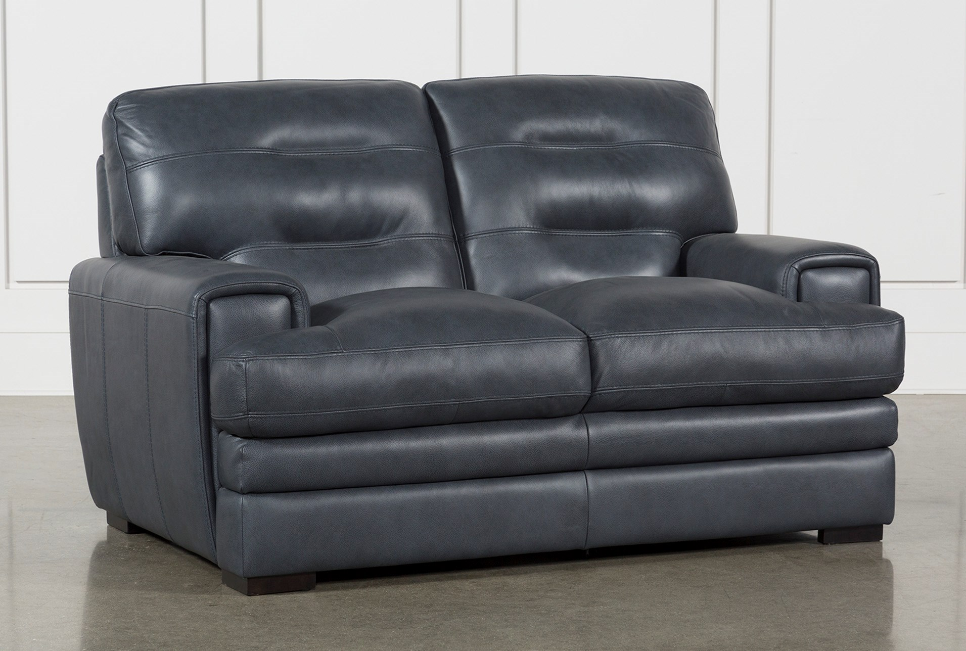 Gina blue leather loveseat qty 1 has been successfully added to your cart