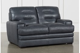 "Gina Blue Leather 65"" Loveseat"