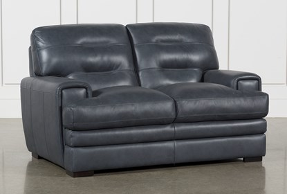 Admirable Gina Blue Leather Loveseat Andrewgaddart Wooden Chair Designs For Living Room Andrewgaddartcom