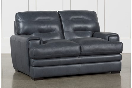Gina Blue Leather Loveseat - Main