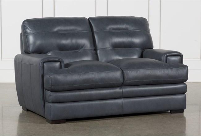 "Gina Blue Leather 65"" Loveseat - 360"