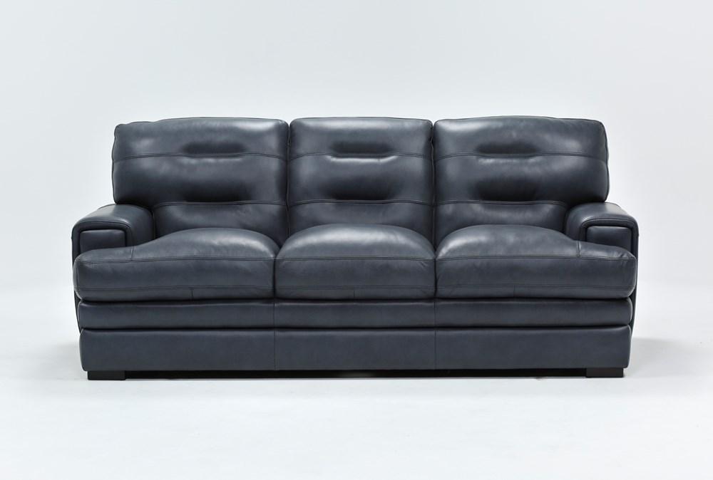 Gina Blue Leather Sofa