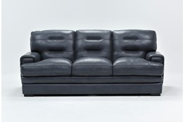 Gina Blue Leather Sofa