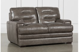 Gina Grey Leather Loveseat