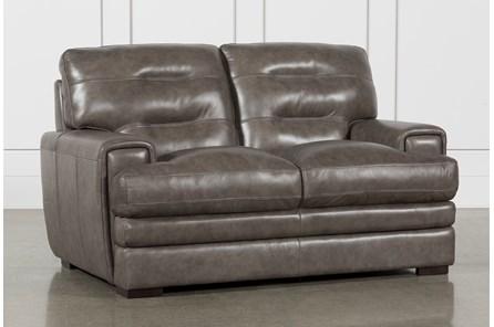 Gina Grey Leather Loveseat - Main