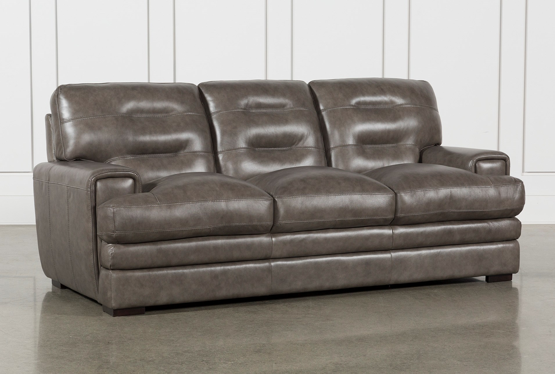 Gina Grey Leather Sofa | Living Spaces