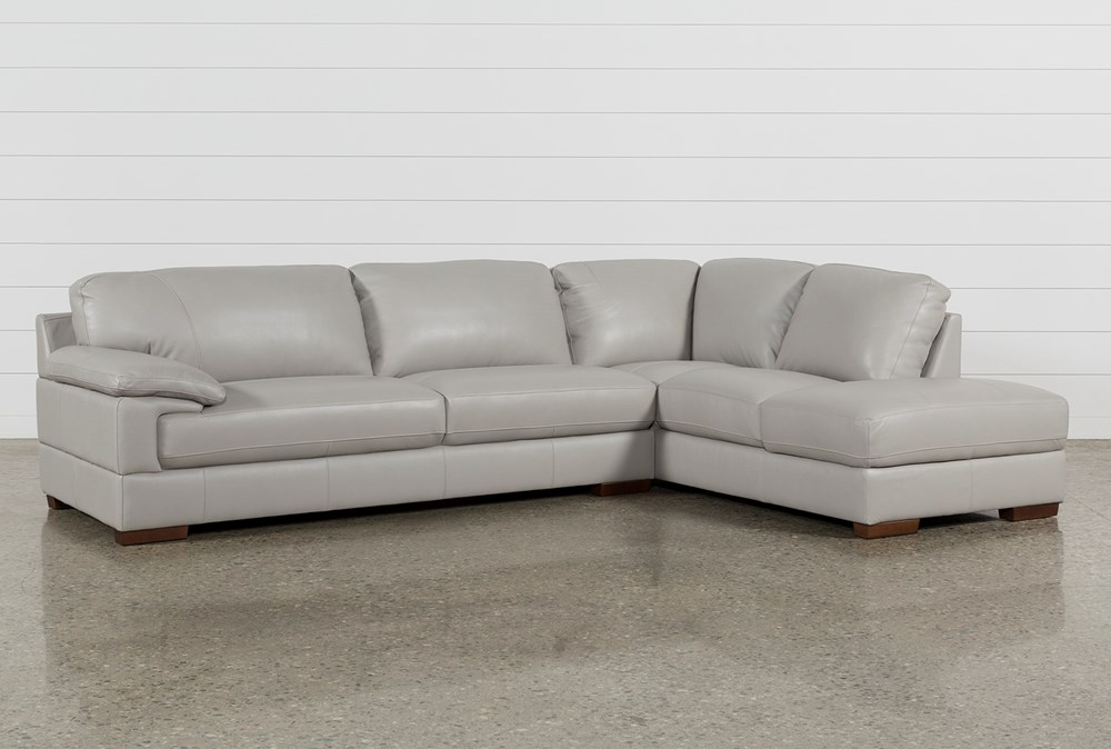 Nico Light Grey Leather Sectional With Right Arm Facing Armless Storage Chaise