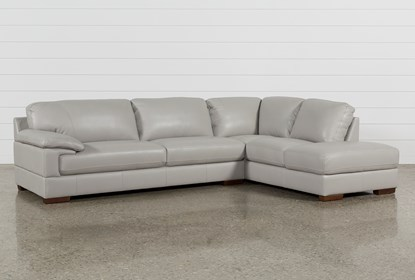 Tremendous Nico Light Grey Leather Sectional With Right Arm Facing Home Interior And Landscaping Pimpapssignezvosmurscom