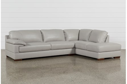 Nico Light Grey Leather Sectional With Right Arm Facing ...