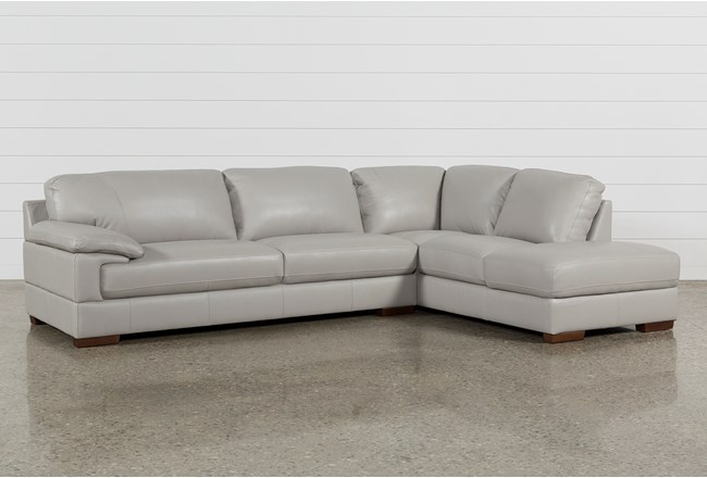 Nico Light Grey Leather Sectional With Right Arm Facing Armless Storage Chaise - 360