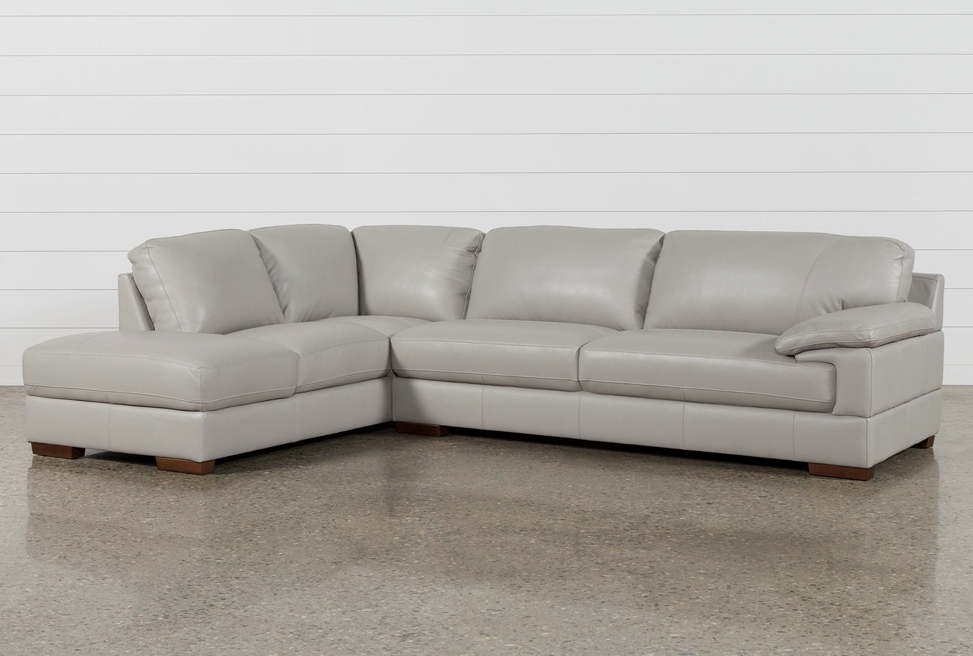 Outstanding Nico Light Grey Leather Sectional With Left Arm Facing Armless Storage Chaise Forskolin Free Trial Chair Design Images Forskolin Free Trialorg