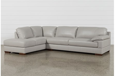 Nico Light Grey Leather Sectional With Left Arm Facing Armless Storage Chaise