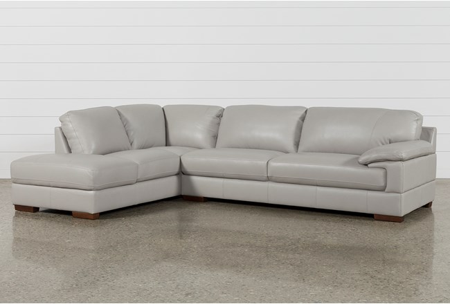 Nico Light Grey Leather Sectional With Left Arm Facing