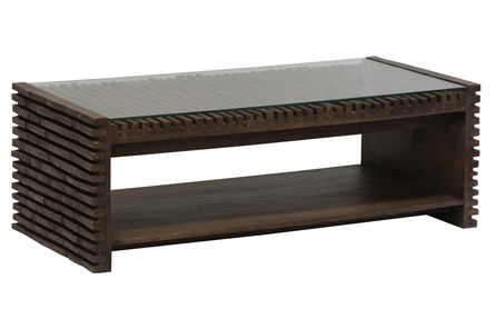 Dark Corrugated Wood Glass Top Coffee Table