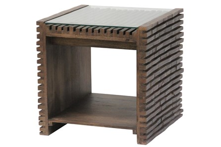 Dark Corrugated Wood Glass Top End Table