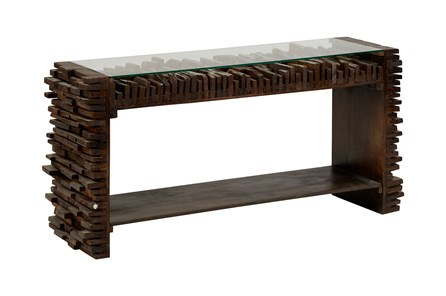 Dark Corrugated Wood Glass Top Console Table