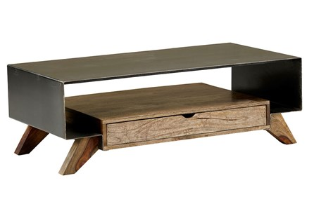 Mixed Wood Metal Coffee Table