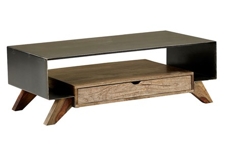 Mixed Wood Metal Coffee Table - Main