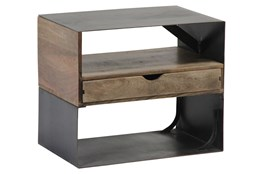 Mixed Wood Metal Side Table