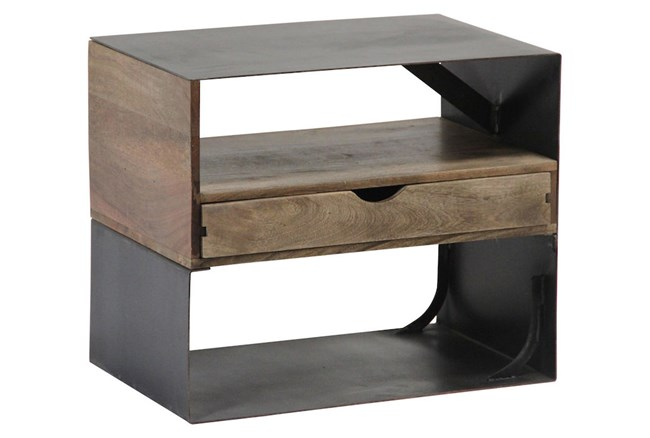 Mixed Wood Metal Side Table - 360