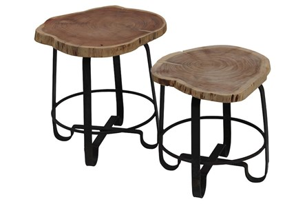 Wood Stump Stools Set Of 2