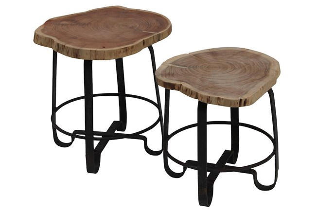 Wood Stump Stools Set Of 2 - 360
