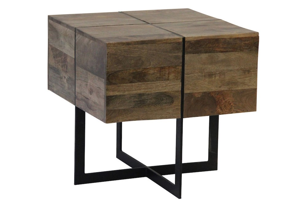 Square Cement Metal Inlay Side Table