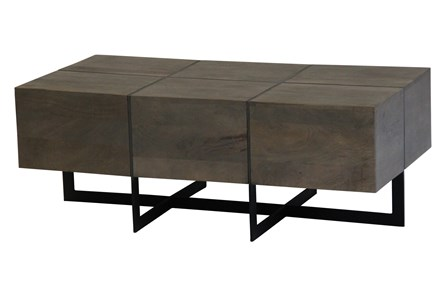 Square Cement Metal Inlay Coffee Table - Main