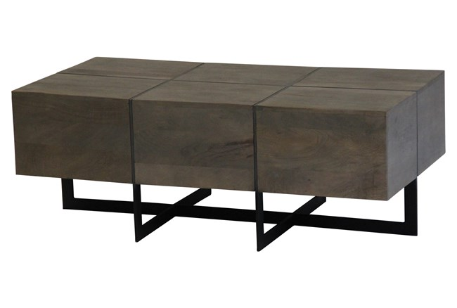 Square Cement Metal Inlay Coffee Table - 360