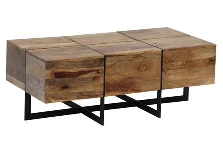 Mango Wood Metal Inlay Coffee Table - Main