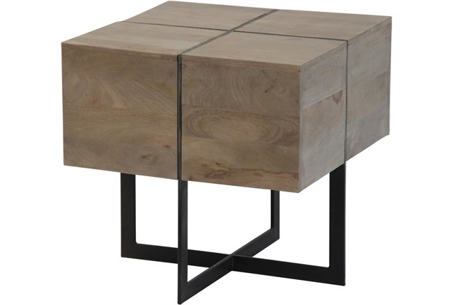 Mango Wood Metal Inlay Side Table - 360